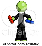 Green Clergy Man Red Pill Or Blue Pill Concept