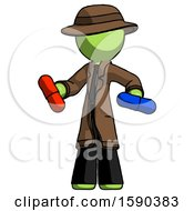 Green Detective Man Red Pill Or Blue Pill Concept
