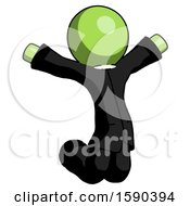 Green Clergy Man Jumping Or Kneeling With Gladness