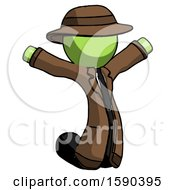 Green Detective Man Jumping Or Kneeling With Gladness