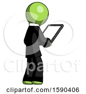 Green Clergy Man Looking At Tablet Device Computer Facing Away