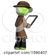 Green Detective Man Looking At Tablet Device Computer Facing Away