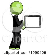 Green Clergy Man Show Tablet Device Computer To Viewer Blank Area
