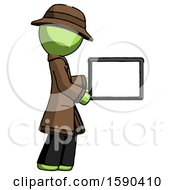 Green Detective Man Show Tablet Device Computer To Viewer Blank Area