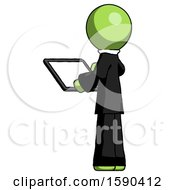 Green Clergy Man Looking At Tablet Device Computer With Back To Viewer
