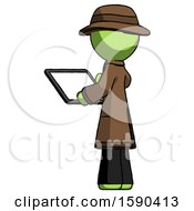 Green Detective Man Looking At Tablet Device Computer With Back To Viewer