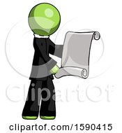 Green Clergy Man Holding Blueprints Or Scroll