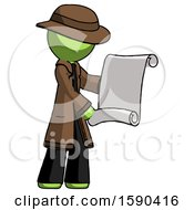 Green Detective Man Holding Blueprints Or Scroll