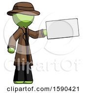 Green Detective Man Holding Large Envelope