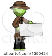 Green Detective Man Presenting Large Envelope