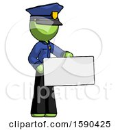 Green Police Man Presenting Large Envelope