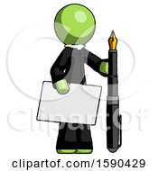 Green Clergy Man Holding Large Envelope And Calligraphy Pen