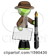 Green Detective Man Holding Large Envelope And Calligraphy Pen