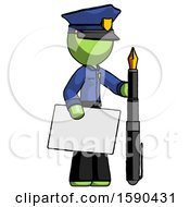 Green Police Man Holding Large Envelope And Calligraphy Pen