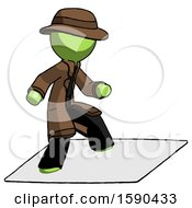 Green Detective Man On Postage Envelope Surfing