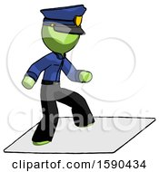 Green Police Man On Postage Envelope Surfing