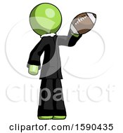 Green Clergy Man Holding Football Up