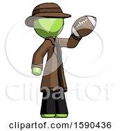 Green Detective Man Holding Football Up