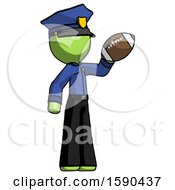 Green Police Man Holding Football Up