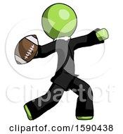 Green Clergy Man Throwing Football