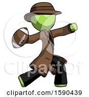 Green Detective Man Throwing Football