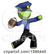 Green Police Man Throwing Football