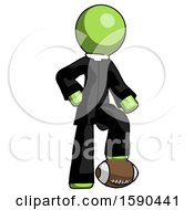 Green Clergy Man Standing With Foot On Football