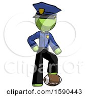 Green Police Man Standing With Foot On Football