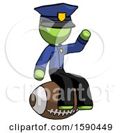Green Police Man Sitting On Giant Football