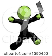 Green Clergy Man Psycho Running With Meat Cleaver