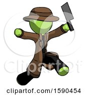 Green Detective Man Psycho Running With Meat Cleaver