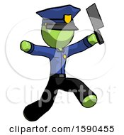 Green Police Man Psycho Running With Meat Cleaver