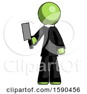 Green Clergy Man Holding Meat Cleaver