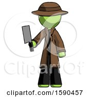 Green Detective Man Holding Meat Cleaver