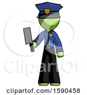 Green Police Man Holding Meat Cleaver
