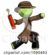 Green Detective Man Throwing Dynamite