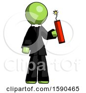 Green Clergy Man Holding Dynamite With Fuse Lit