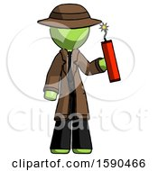 Green Detective Man Holding Dynamite With Fuse Lit
