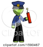 Green Police Man Holding Dynamite With Fuse Lit