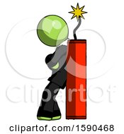 Green Clergy Man Leaning Against Dynimate Large Stick Ready To Blow