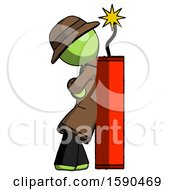 Green Detective Man Leaning Against Dynimate Large Stick Ready To Blow