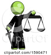 Green Clergy Man Justice Concept With Scales And Sword Justicia Derived
