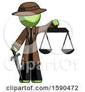 Green Detective Man Justice Concept With Scales And Sword Justicia Derived