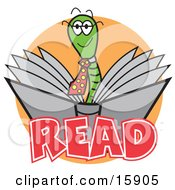 Happy Male Green Worm Wearing A Tie And Reading A Book