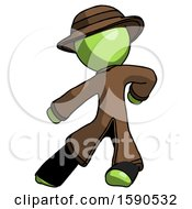 Green Detective Man Karate Defense Pose Left