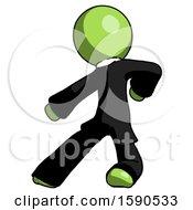 Green Clergy Man Karate Defense Pose Left