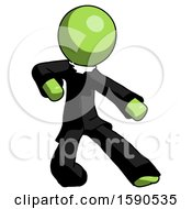 Green Clergy Man Karate Defense Pose Right