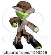 Green Detective Man Karate Defense Pose Right
