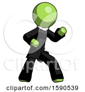 Green Clergy Man Martial Arts Defense Pose Right