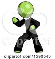 Green Clergy Man Martial Arts Defense Pose Left